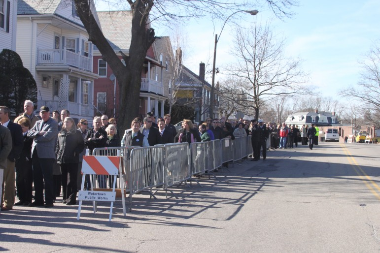 Members of the public lined up for more than three blocks to wait their turn to attend the wake of Boston Fire Lt. Edward Walsh.