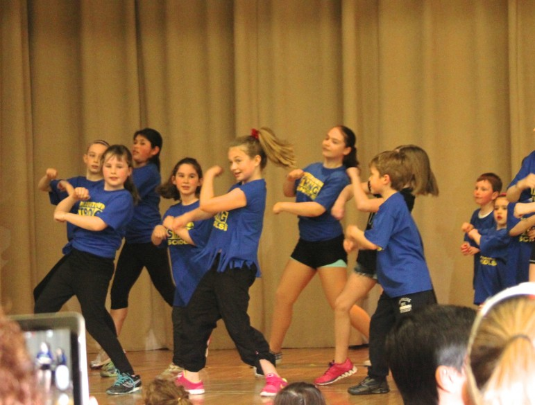 Children from Maria's School of Dance, wearing Watertown Strong Schools shirts performed during the family celebration at the Armenian Cultural and Education Center.