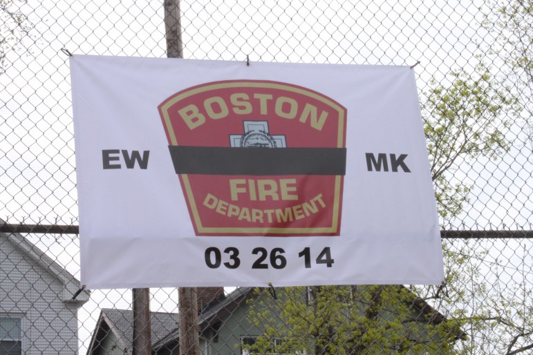 The banner honoring fallen Boston Firefighters Ed Walsh, a Watertown native, and Michael Kennedy will be on the backstop at Casey Field this season.