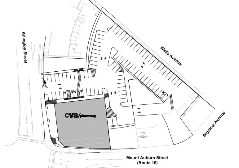 A site plan for the CVS/Pharmacy proposed for the corner of Mt. Auburn and Arlington streets.