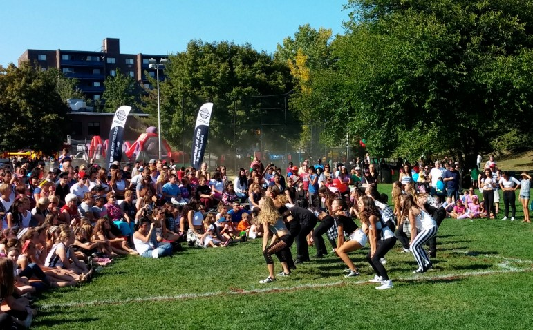 A hip-hop dance group performs Saturday afternoon at the Faire.