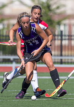 Watertown grad Lauren Giordano scored the first two goals for Stonehill in the 4-0 win over Bentley.