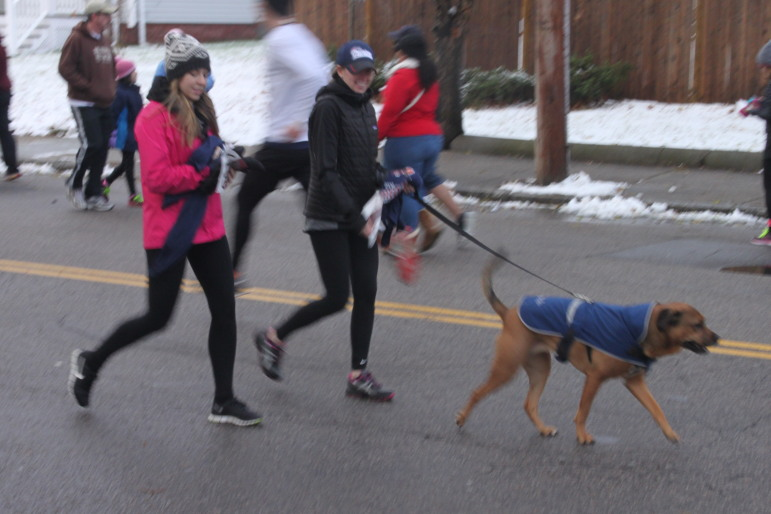 Several dogs joined in the race at the Turkey Trot.