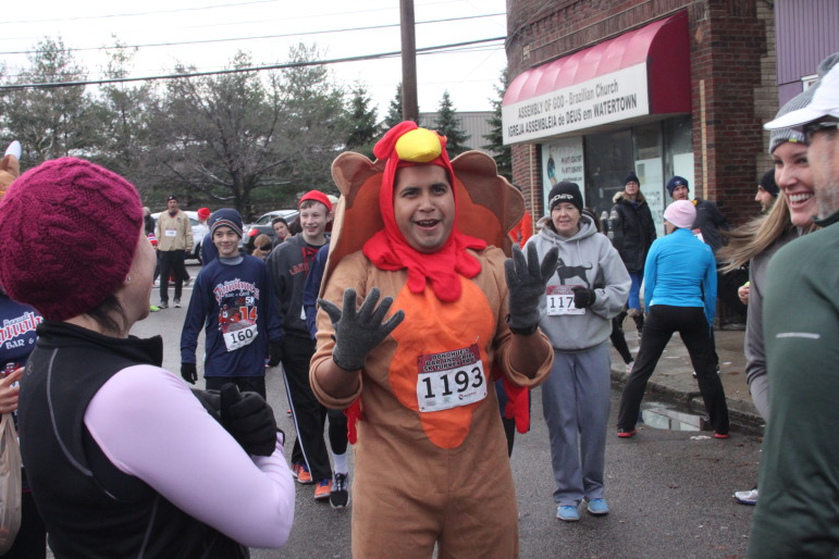Perfect costume for the Turkey Trot - a turkey of course.