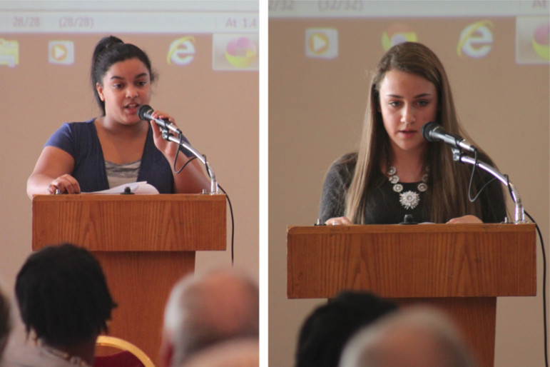 MLK Essay contest winners: Watertown Middle School student Olivia Beauvoir Haggerty, left, and Watertown High School student Lauren Petrillo.