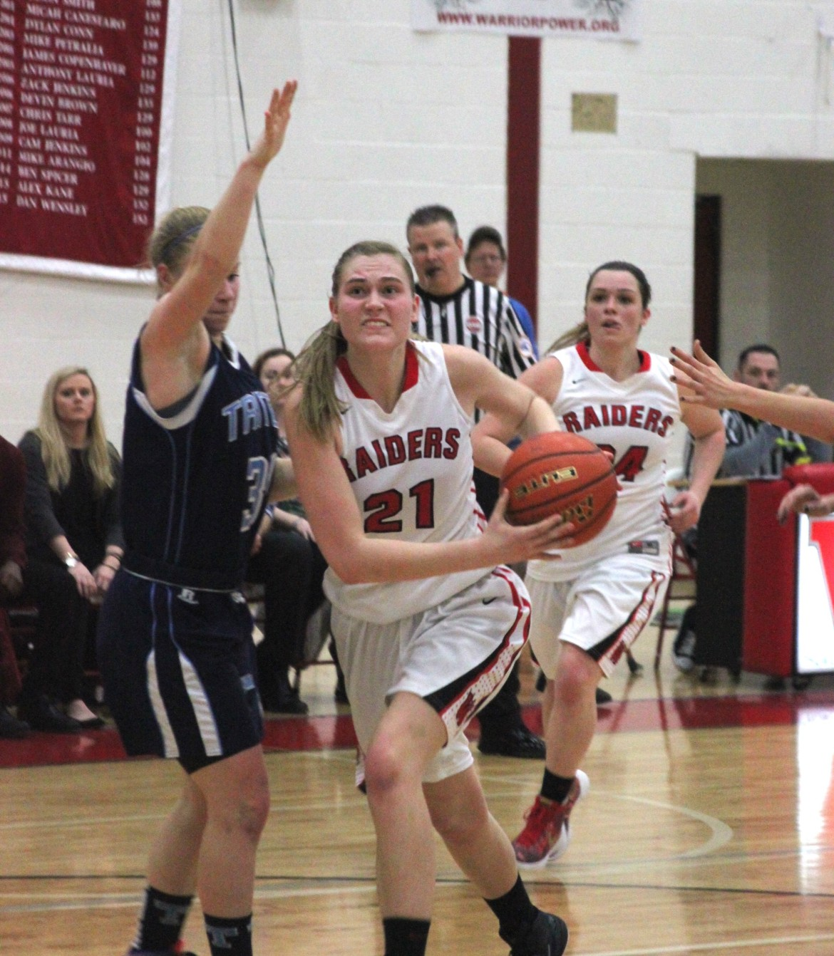 Watertown junior center Shannon Murphy drives to the hoop against Triton. She finished with 16 points in the Section Semifinal victory.